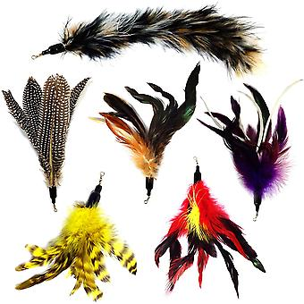 6pcs Replacement Feathers Pack Plus Soft Furry Tail For Pet Toy Wands