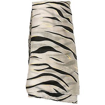 Grey Metallic Zebra Print Scarf by Butterfly Fashion London