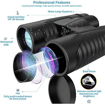 Binoculars for adults, 12x42, with mobile phone adapter, 18 mm vision lens and super bright, waterproof binoculars for bird watching, hunting, sports,(black)