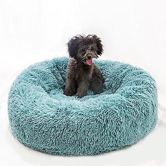 (Blauw) Huisdier Bed, Hond Kat Ronde Warme Knuffel Kennel Zachte Puppy Sofa Kussen Buitendiameter 40 cm