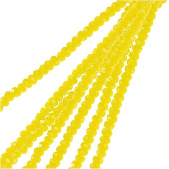 Crystal Beads, Faceted Rondelle 1.5x2.5mm, 2 Strands, Opaque Yellow