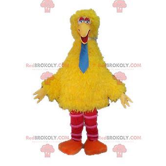Maskottchen REDBROKOLY.COM großer Vogel, berühmter gelber Vogel in der Sesamstraße