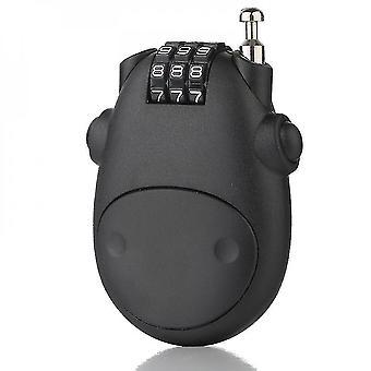 Cartoon koe combinatie bagageslot wachtwoord hangslot met intrekbare touw (zwart)