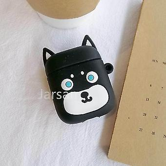 Cute cartoon 3d silicone earphone case covers for airpods 1 2(Blackdog)