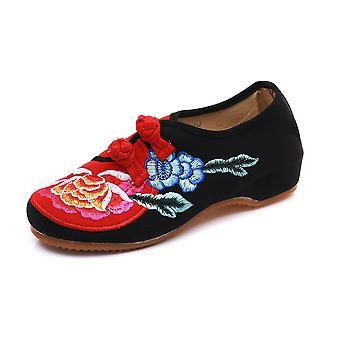 Kvinnors kinesiska vintage etniska broderi låg häl platt hiss Cheongsam klänning skor färgkontrast