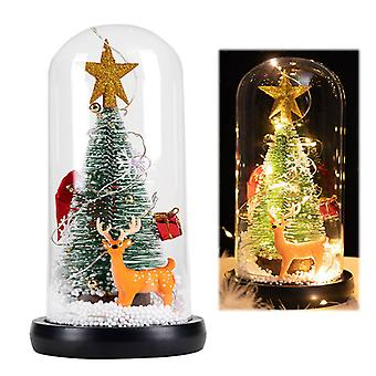 Led Christmas Tree In Glass Cover Tabletop Decoration Night Light Bedside Lamp Ornament