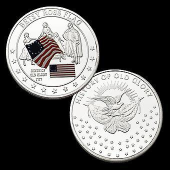 Abzeichen Amerikanische Flagge Betsy Ross Versilberte Gedenkmünzen Sammlung Goldmünzen