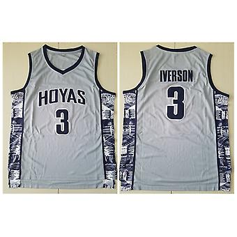 Men's Georgetown Collegiate Athletic #3 Iverson Retro Embroidered Basketball Jersey Size S-xxl