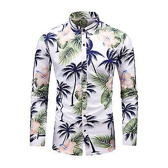 Mile Men Print Long Sleeve Casual Button Down Shirt Retro Printed Shirts