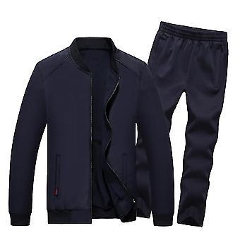 Men's Solid Color Zipper Long Sleeve Casual Suit
