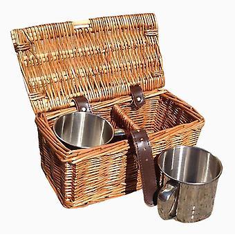 Drinks Basket 2 Mug Hamper in Dark Leather