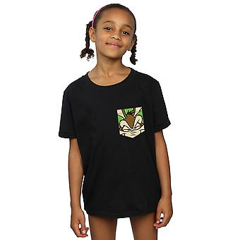 Looney Tunes Girls Wile E Coyote Face Faux Pocket T-Shirt
