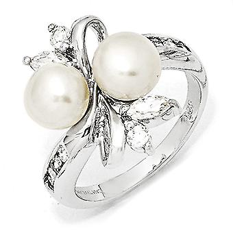 925 Sterling Silver Rhodium plated CZ Cubic Zirconia Simulated Diamond White Freshwater Cultured Pearl Leaves Ring Jewel