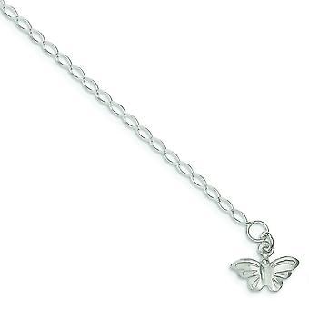 925 Sterling Silber flach zurück solide poliert Schmetterling Engel Flügel Fußkettchen 10 Zoll Frühling Ring Schmuck Geschenke für Frauen