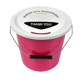 6 Charity Money Collection Buckets 5 Litres - Pink