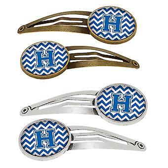 Lettera H Chevron bianco e blu Set di 4 mollette capelli clip