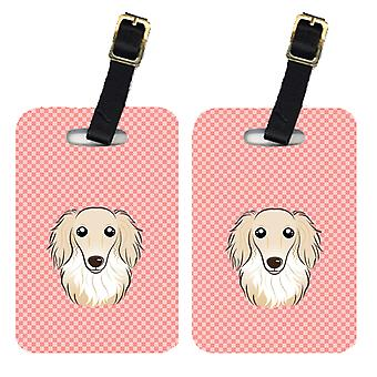 Pair of Checkerboard Pink Longhair Creme Dachshund Luggage Tags