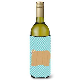Lincoln Longwool Sheep Blue Check Wine Bottle Beverge Insulator Hugger