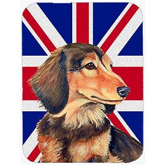 Dachshund with English Union Jack British Flag Glass Cutting Board Large Size