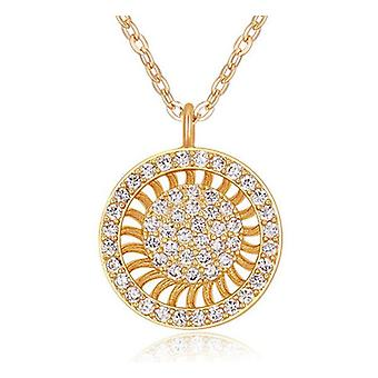 Womens Sunray Circle Pendant Necklace