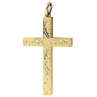 9ct золота 40x25mm ручной гравировкой цельного крест