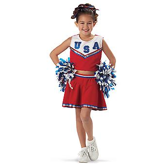 Patriotique Cheerleader Sport Pom Poms livre semaine écolières Costume