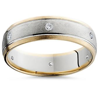 Gold Two Tone Brushed Diamond Wedding Ring 14K New