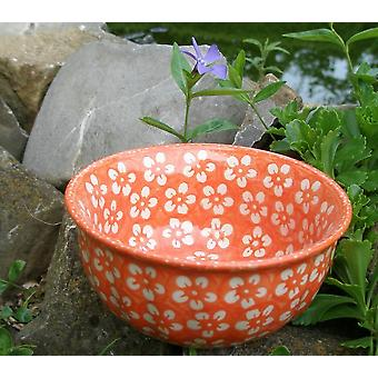 Waves edge Bowl, Ø14cm, ↑6, 5 cm, orange, Bolesławiec BSN m-4330