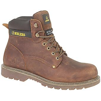 Amblers Mens Dorking Lace Up Leather Fabric Lined Casual Boot Brown