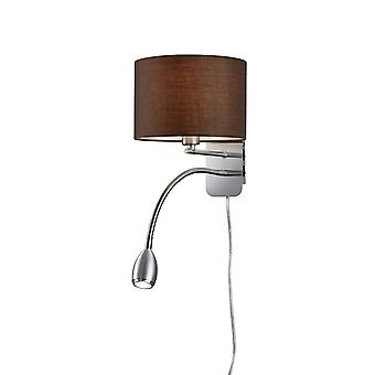 Trio Lighting Hotel Young Living Nickel Matt Metal Wall Lamp