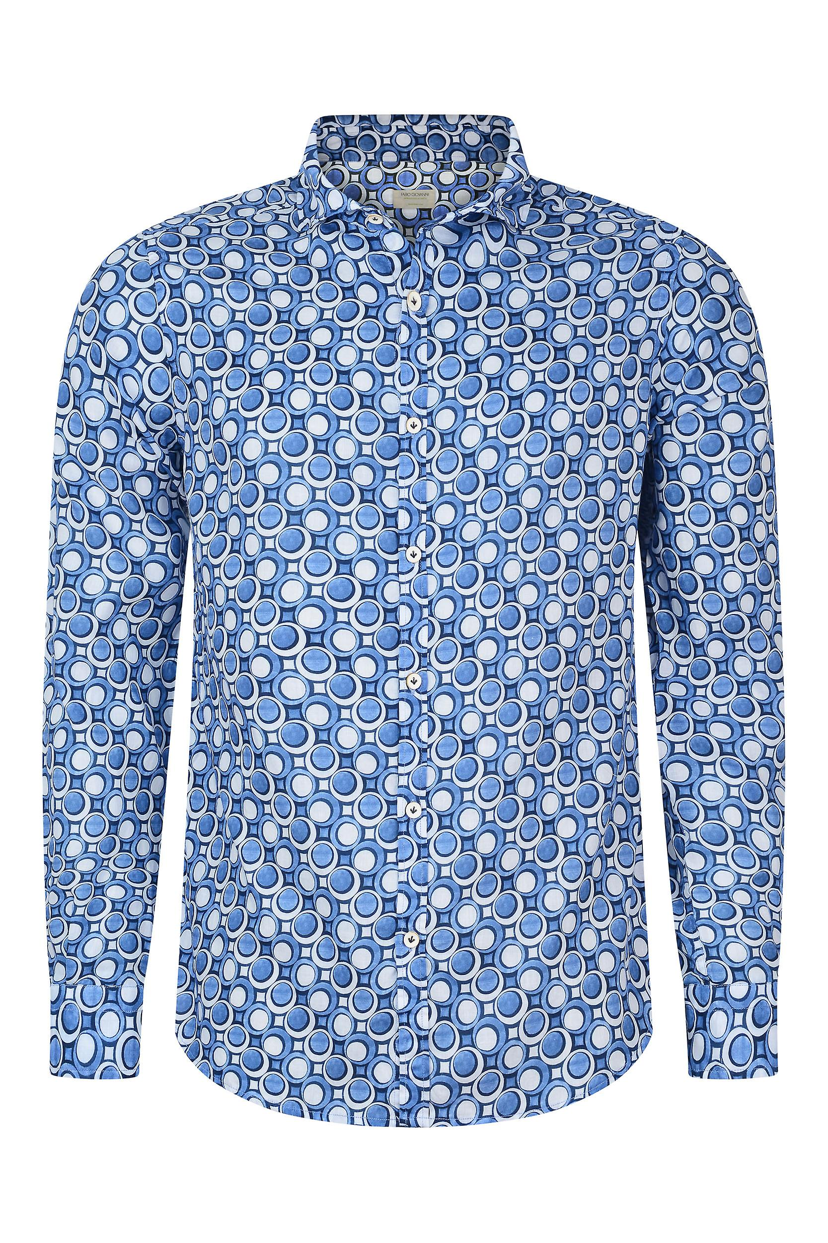 Fabio Giovanni Galatina Shirt - Mens Italian Casual Stylish Shirt 100% Cotton - Long Sleeve
