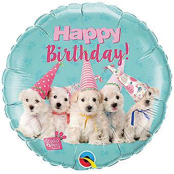 Qualatex 18in Birthday Puppies Round Foil Balloon