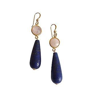 Gemshine örhängen guldpläterad ros kvarts lapis lazuli rosa blå parti droppar