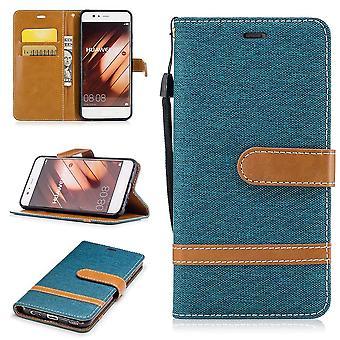 Tasche für Huawei P10 Jeans Cover Handy Schutz Hülle Case Grün