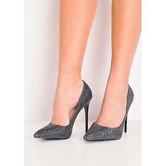 Glitter terävä kärki Stiletto tuomioistuin kengät musta