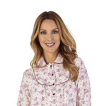 Slenderella ND2211 Frauen Luxus Flanell Floral Night Gown Loungewear Nachthemd