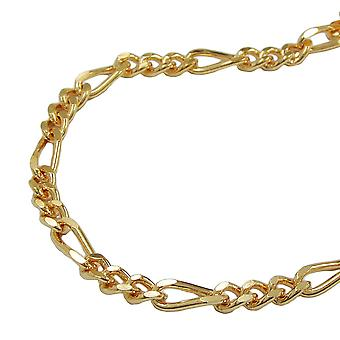 Chain 3mm Figaro tank gold plated 70 cm AMD