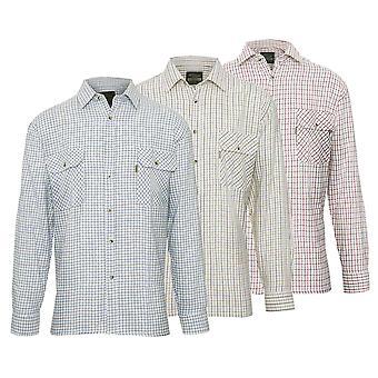Mester Mens Tattersall stil langermet skjorte (pakke med 3)