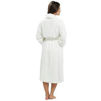 Ladies Supersoft Warm Cotton Wrap Over & Shawl Collar Dressing Gown Nightwear Bathrobe