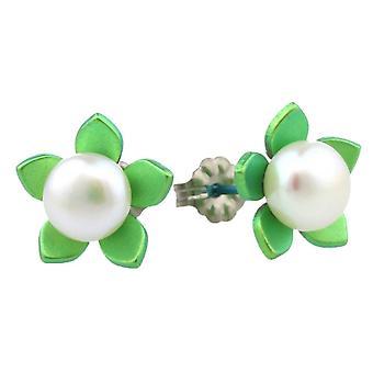 Ti2 טיטניום פרח גדול עגילי פנינה פתוח-ירוק טרי