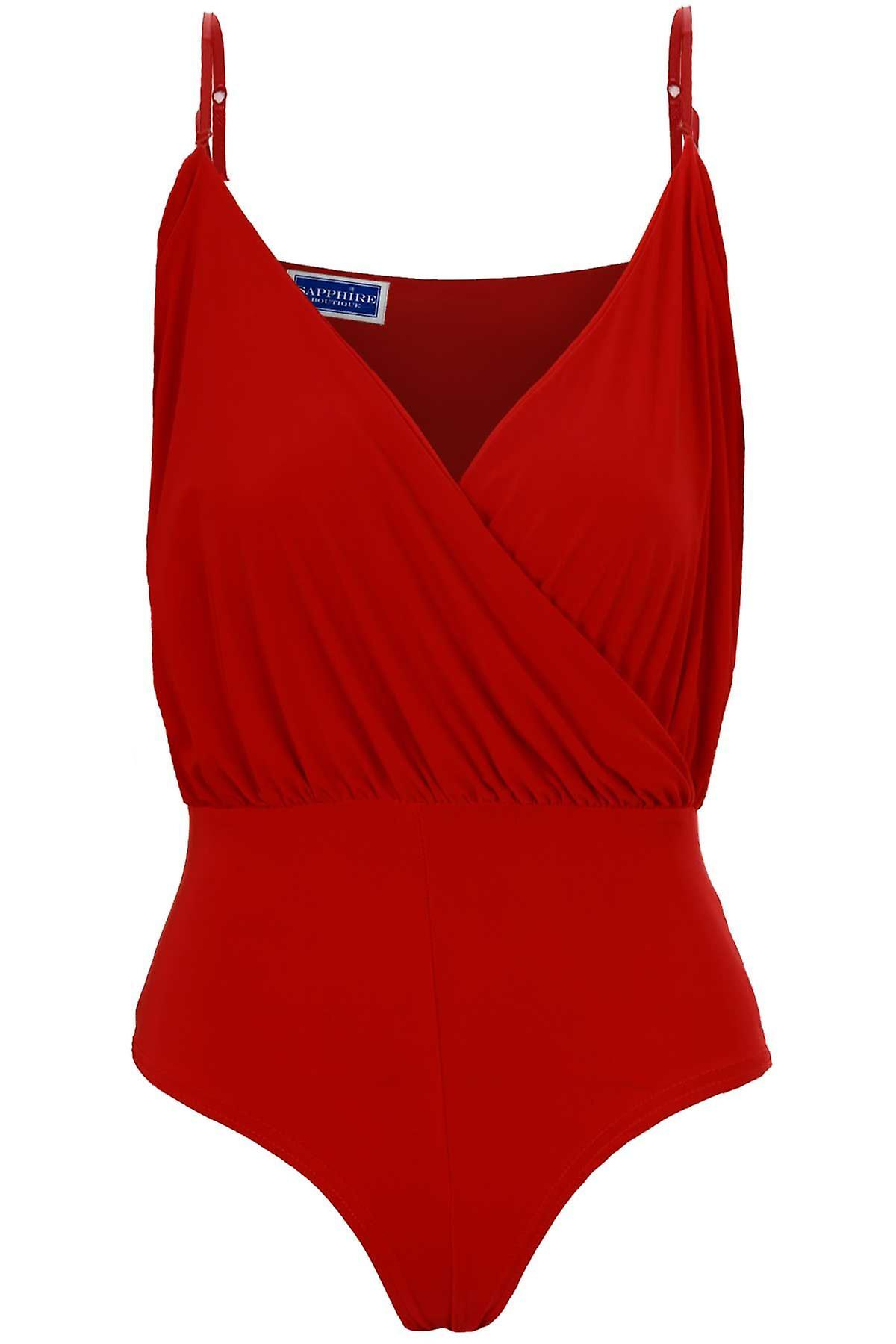 Ladies High Rise Stretch Jersey Wrap V Neck Gathered Women's Bodysuit Leotard