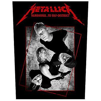 Metallica Hardwired at selvdestruerende jumbo størrelse sy på klud backpatch 360 mm x 300 mm (rz)