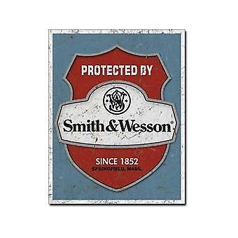 Chronione przez Smith Wesson idealna Tarcza metalowy znak (de)