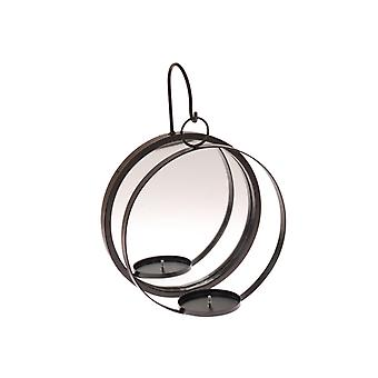 Candle holder lantern wall with mirror black forging 35 cm