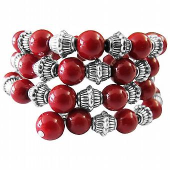Handcrafted Stranded Bangle Can Customize Your Colors Coral Red Pearls