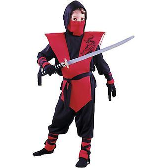 Röd och svart Ninja kostym pojkar - soldat