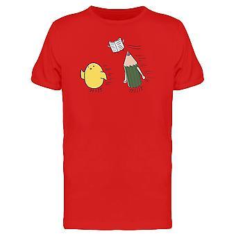 Huhn, Stift und Buch fliegen T-Shirt Herren-Bild von Shutterstock