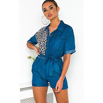 IKRUSH Womens Carrie Leopard Print Playsuit