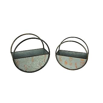 Distressed Galvanized Metal Round Floating Planters Set of 2