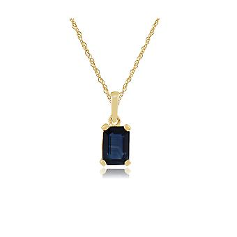 Classic Baguette Sapphire Pendant Necklace in 9ct Yellow Gold  135P1571039
